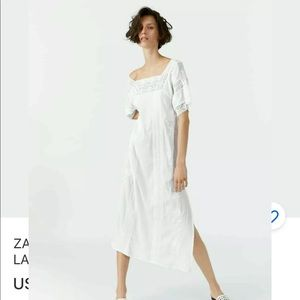 ZARA SS19 WHITE EMBROIDERED LACE TRIM MAXI DRESs